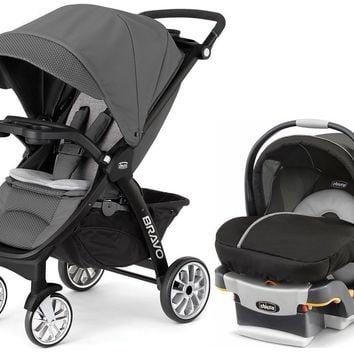 Chicco Bravo LE Trio 3-in-1 Baby Travel System Stroller KeyFit 30 Car Seat Coal