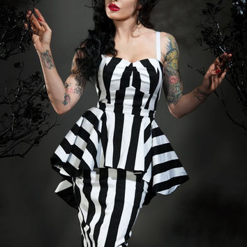 Vintage Goth Pinup Capsule Collection - Glamour Ghoul Dress in Black and White Stripe