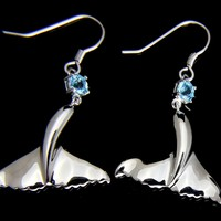 GENUINE BLUE TOPAZ SILVER 925 HAWAIIAN WHALE TAIL WIRE HOOK EARRINGS