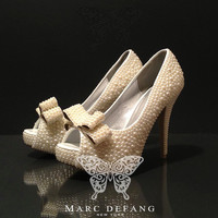 THE Cinderella Bow Tie Ivory Pearl Luxury Heels