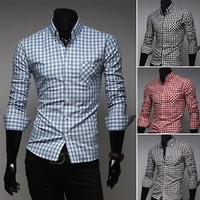 Jeansian Mens Casual Dress Shirts Tops Slim Fashion Trend 4 Colors 5 Sizes 8523