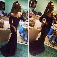 Women Long Tail Black Maxi Dress Shoulder Slim Evening Formal Cocktail = 1902648260