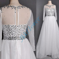 Vintage 1980s Full Sleeves Beaded Crystal Beaded Prom Dresses,A Line Chiffon Custom Made Party Grown Prom Dresses