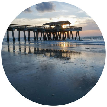 Paul Moore's Pier at Dusk Circle Wall Decal