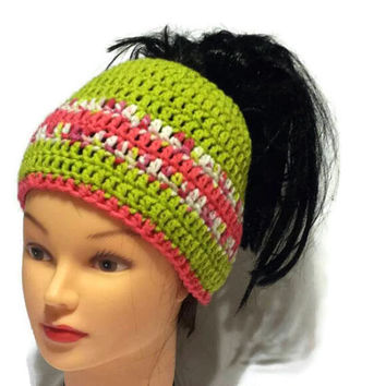 Women Pony Tail Hat, Ponytail Beanie, Bun Hole Hat, Crochet Tube Cap Winter Hair Wrap Running Hat Jogging Wear Sock Hat Style Dreadlock Tube