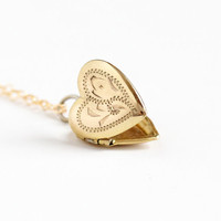 Sale - Vintage 1/20 10k Gold Filled Heart Locket Necklace - 1960s Retro Flower Etched Small Love Pendant Charm Jewelry