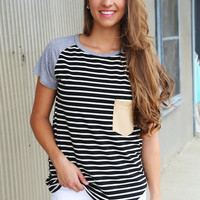 Pin Stripe Pocket Tee {Gray + Black}