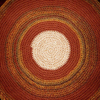 Large Crochet Area Rug, Thick Handmade Rag Rug Round, Brown and deep Rust Floor Rug