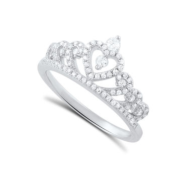 Sterling Silver Cz Heart Crown Ring