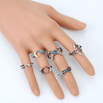 LMF9GW 6PCS Vintage Turkish Beach Punk Moon Arrow Ring Set Ethnic Carved Silver Plated Boho Midi Finger Ring Knuckle Charm anelli