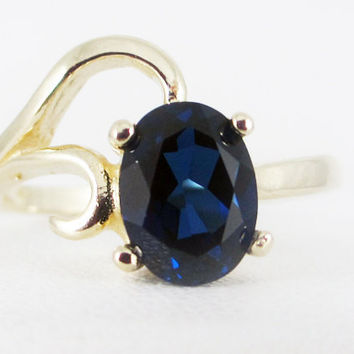 Blue Sapphire 14k Yellow Gold Oval Ring, Solid 14 Karat Gold Ring, September Birthstone Ring, Oval Blue Sapphire Ring, 14k Blue Sapphire