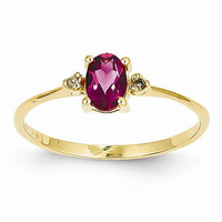 14k Yellow Gold Diamond Pink Tourmaline Ring