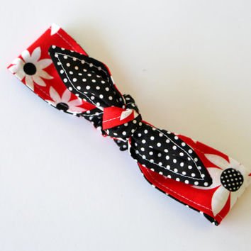 Reversible Baby Toddler Pre-tied Head Scarfs Red with Large Flowers over Black and White Polka Dots 40s Headband Hair Accessory Toddler