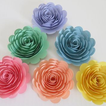 "Large Pastel Rainbow Roses, Set of 6 3"" paper flowers for Neutral baby shower table centerpieces, Wedding Decorations, new adoption gift idea, nursery wall decor"