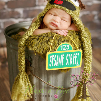 Adorable Newborn Oscar the Grouch Sesame Street Hat and Worm