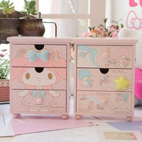 Melody twins gemeni jewellery draws melody desktop storage box creative cute cartoon Gemini wood finishing box