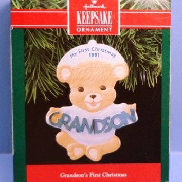 1991 Grandson's First Christmas Hallmark Retired Ornament