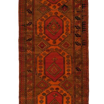 4x8 Overdyed Vintage Caucasian Orange Rug 2628