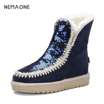 NEMAONE 2017 NEW Winter Women Fashion Shoes High Qulity Sheepskin Real Wool Snow Boots Woman Australia Warm Snow Boot