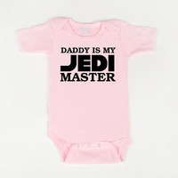 Daddy is my Jedi Master Baby Onesuit Pink by geeklingdesigns