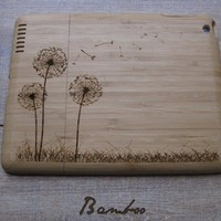 Ipad 2 case - wooden cases walnut or bamboo wood - Dandelion