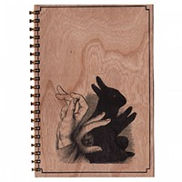 Wood Notebook Shadow Bunny Large