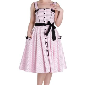 Hell Bunny MARTIE DRESS Pink polka dots black bows retro