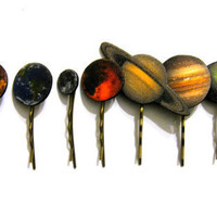 Full set of solar system planet hair clips by TheDopelerEffect