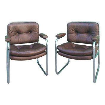 Pre-owned Leather and Chrome Vintage Arm Chairs - A Pair
