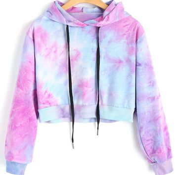 ZAN.STYLE Tie Dye Cropped Hoodie Autumn Long Sleeve Hooded Sweatshirt Punk Pullover Tops Streetwear Casual Tops Harajuku Moletom