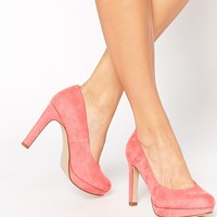 New Look Wide Fit Sieve Coral Heeled Shoes