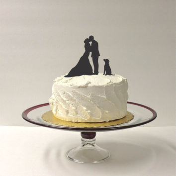 Silhouette Cake Topper  With Pet Dog Family of 3 Silhouette Wedding Cake Topper Bride and Groom Cake Topper