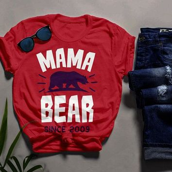 Men's Personalized Mama Bear T Shirt Mom Since Shirts Custom Graphic Tee Mother's Day