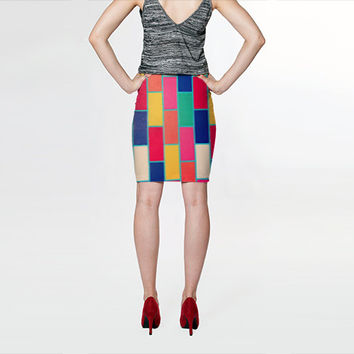 Colorful Skirt - FREE shipping spandex skirt polyester spandex bodycon skirts high waisted skirt knee length mini pink orange yellow blue