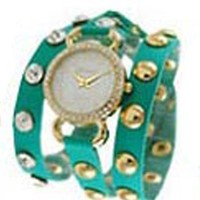 Geneva Designer Inspired Leather Wrap Watch Teal