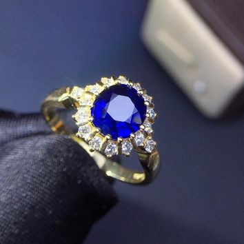 Fine Jewelry Real 18K Gold 100% Natural 1.5ct Blue Sapphire Gemstone 18k Gold Diamonds Stone Female Ring for Women Rings