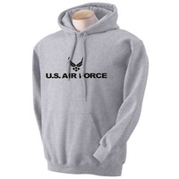Air Force Hooded Sweatshirt - Military Style Physical Training Sweatshirt in Gray