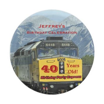 Railroad Train Paper Plates, 40th Birthday, Custom Paper Plate