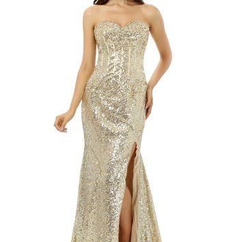 Champagne Robe De Soiree 2018 Mermaid Sweetheart Sequins Sparkle Crystals Slit Sexy Long Prom Dresses Prom Gown Evening Dresses
