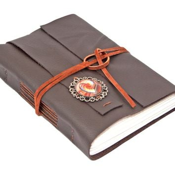 Dark Brown Leather Journal with Heart Cameo