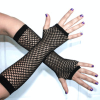 Black Fingerless Fishnet Gloves, Goth, Punk, Clubwear