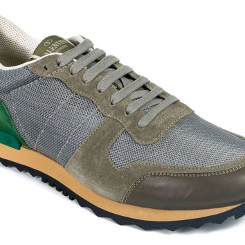 Valentino Womens Silver Multicolored Leather Rockrunner Sneakers
