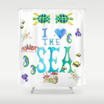i love the sea shower curtain ocean reef watercolor fish typography bathroom teens