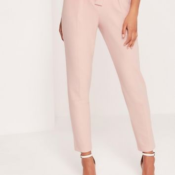 Missguided - Petite Pleated Waist Tie Belt Cigarette Trousers Nude
