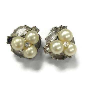 1950s Earrings, Vintage Faux Pearl and Rhinestone Cluster Clip Back Earrings, Wedding Jewelry, Bridal Jewelry
