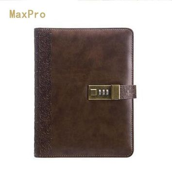 2017 Planner Vintage Notebook A5 Personal Diary With Lock Notebooks Leather Organizer Travel Journal Agenda