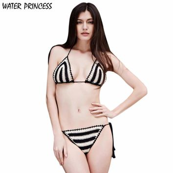 WATER PRINCESS 2017 Adjustable Swimwear  Women Ladies Summer Crochet Knit Swimwear Beach Bikini Set de las mujeres