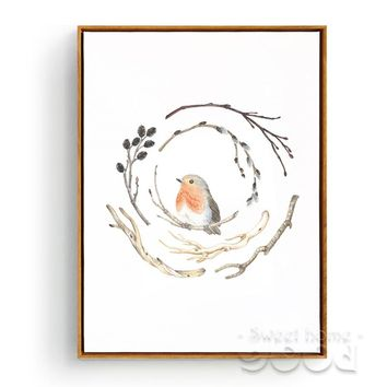 Vintage watercolor branches and bird Canvas Art Print - Free Shipping