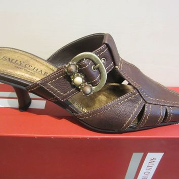 Fashion Sally O'Hara Women Clogs / Sabot Brown, Genuine Leather NEW
