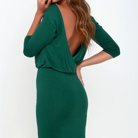 All or Nothing Forest Green Backless Dress